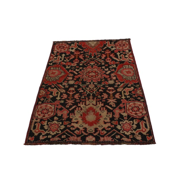 Vintage Turkish Oushak Accent rug with traditional modern style. This hand-knotted wool vintage Turkish Oushak accent rug...