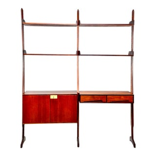 Mid Century Free Standing Teak Shelving Wall Unit For Sale