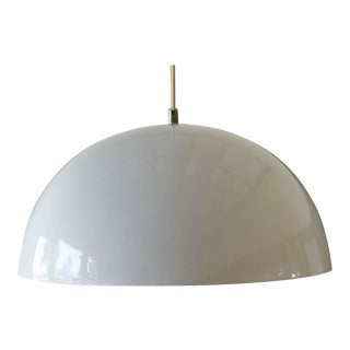 1960s Vintage White Enameled Metal Dome Pendant Light For Sale