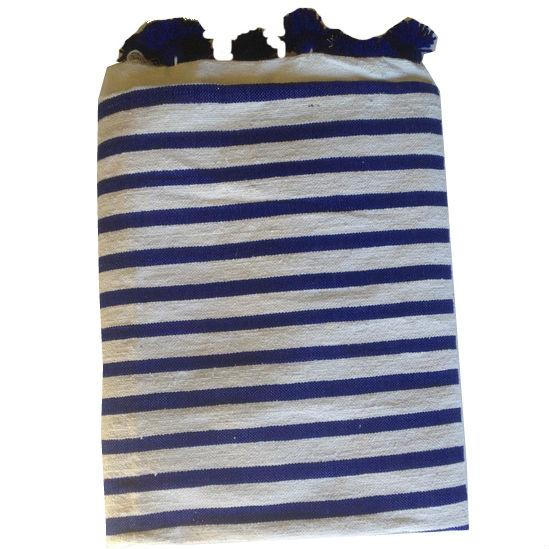 Navy Striped Moroccan Blanket with Tassels - Image 1 of 3