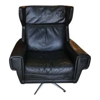 Danish Mid-Century Black Leather Swivel Reclining Lounge Chair For Sale
