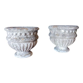Mid 20th Century Vintage Concrete Garden Planters-a Pair For Sale