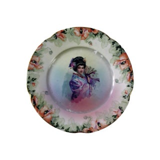 Vintage Geisha Girl Plate For Sale
