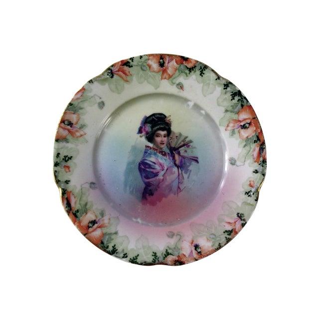 Vintage Geisha Girl Plate - Image 1 of 3