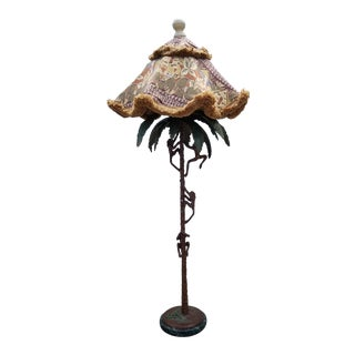 1980s Vintage Frederick Copper Palm Tree With Monkeys Floor Lamp For Sale