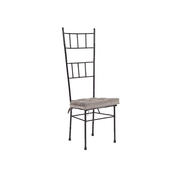 "Set of 6 black mid-century faux-bamboo metal dining chairs with new grey seat cushions. Dimensions: 19""W x 18""D x 48""H...."