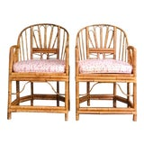 Image of 1980s Vintage Brighton Bamboo ChairsA Pair For Sale