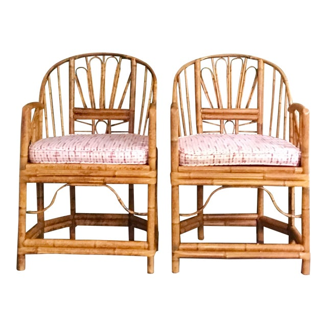 1980s Vintage Brighton Bamboo ChairsA Pair For Sale