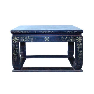 Distressed Black Lacquer Blue Graphic Rectangular Wood Stand Display For Sale