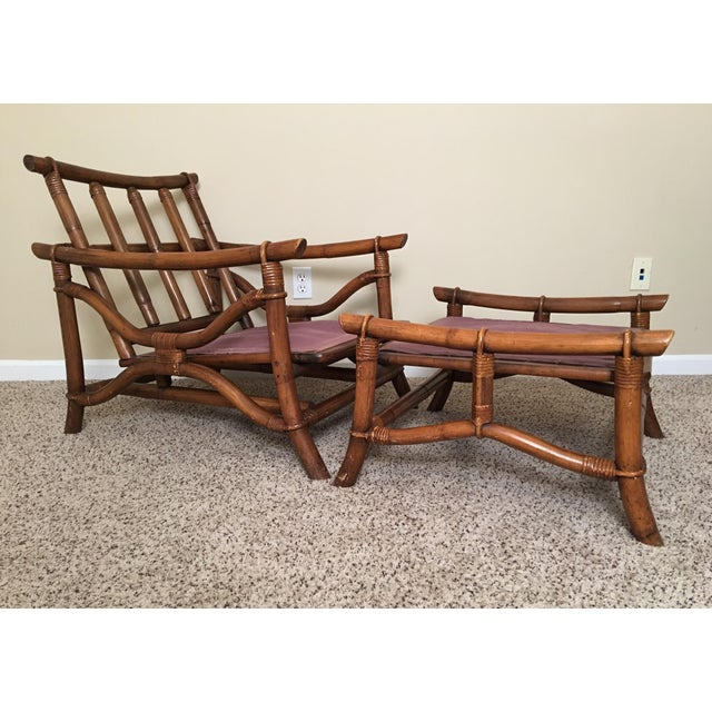 Mid Century Modern Rattan Lounge Chair & Ottoman For Sale - Image 13 of 13