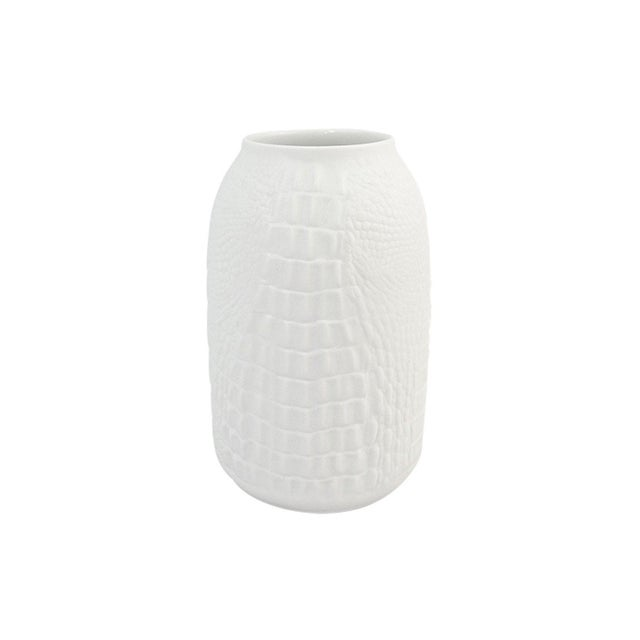 1970s Modernist White Bisque Porcelain Vase with Crocodile Texture by A.K. Kaiser For Sale - Image 5 of 5