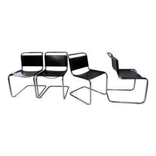 1980s Vintage Loewenstein Oggo Chrome & Leather Chairs - Set of 4 For Sale