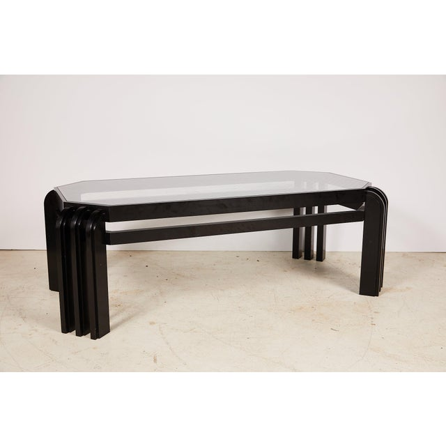 Vintage Black Lacquer Cocktail Table With a Wired Glass Top For Sale - Image 12 of 13