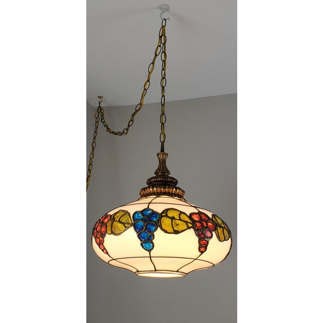 Mid-Century Ceiling Swag Lamp Hand Painted Glass Metal Overlay White Grape Leaves For Sale - Image 4 of 11