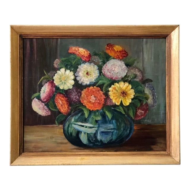 Bright and Cheerful 1940s Floral Still Life For Sale