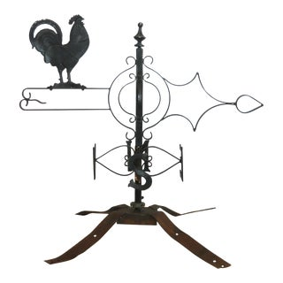 Antique Wrought Iron Cockeral Weather Vane - 1890s For Sale