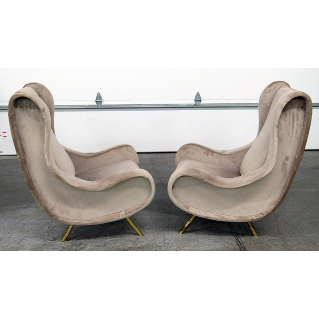 Gold Pair of Italian Modern Lounge Chairs For Sale - Image 8 of 9