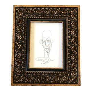 Original Contemporary Giacometti Style Ink Drawing by Cody Orrell Ornate Frame For Sale