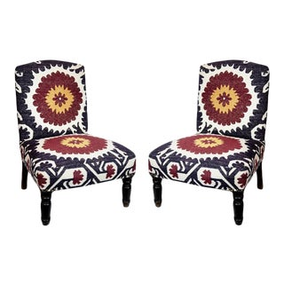 Suzani Design Upholstered Chairs - a Pair For Sale