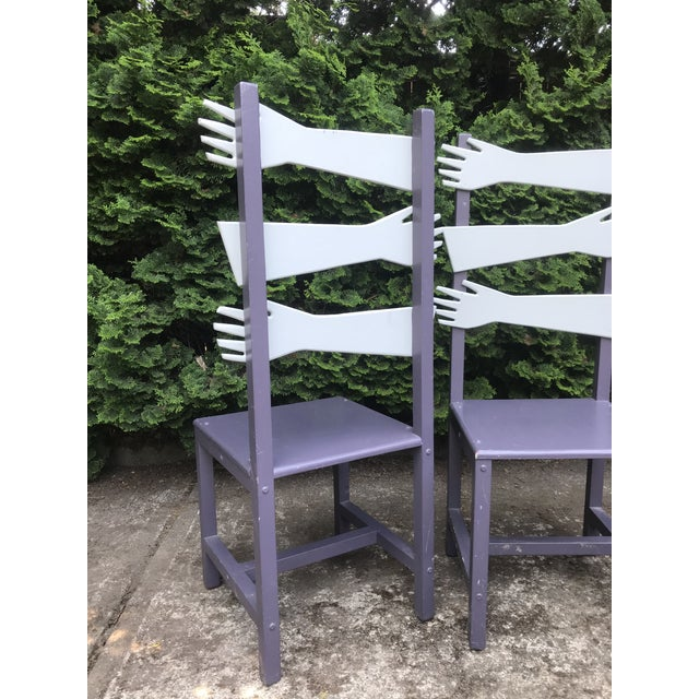"""Paint Whimsical Post Modern Artist Made """"hand"""" Chairs -A Pair For Sale - Image 7 of 8"""