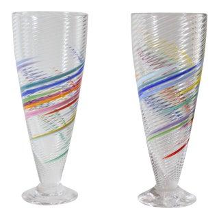 Tom Stoenner Signed Hand Made Swirl Art Glass Pilsner Soda Glasses - a Pair For Sale