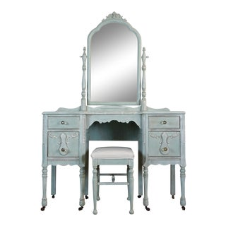 Antique Shabby Chic Painted Vanity Set - 2 Pc.
