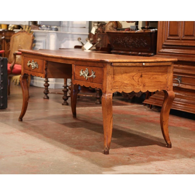 Gold 18th Century French Louis XV Carved Cherry Desk With Drawers and Pullout Trays For Sale - Image 8 of 13