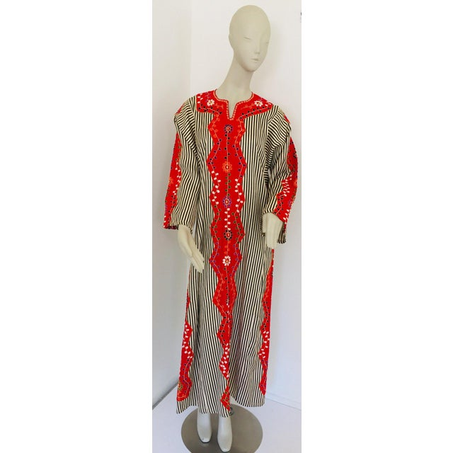 Vintage Middle Eastern Ethnic Caftan, Kaftan Maxi Dress For Sale - Image 13 of 13