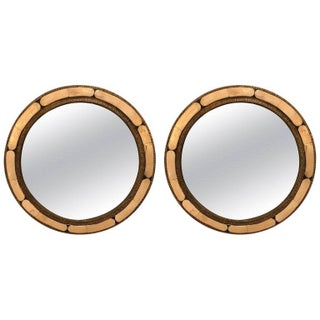 Moroccan Modern White Round Camel Bone Mirrors - a Pair For Sale