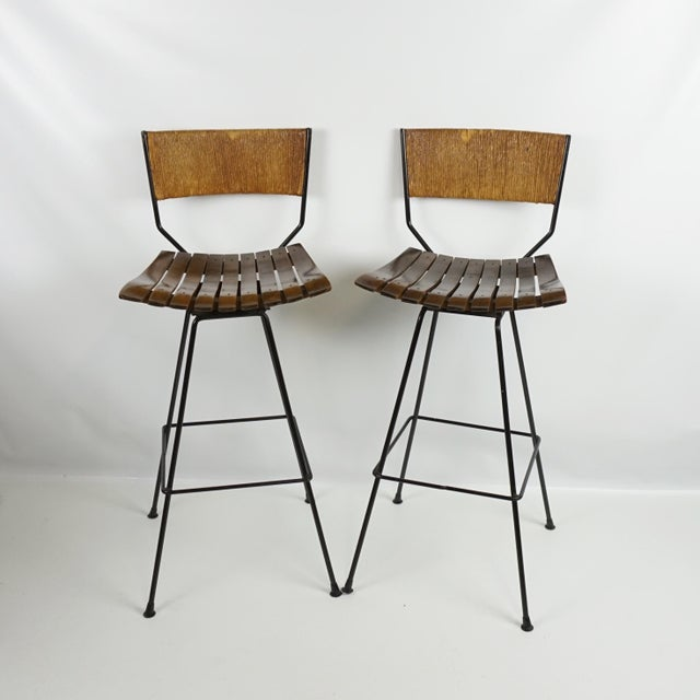 Arthur Umanoff Mid-Century Iron Bar Stools - Set of 5 - Image 3 of 11
