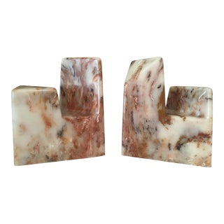 Vintage Mid Century Modern Art Deco Architectural Marble Bookends - a Pair For Sale