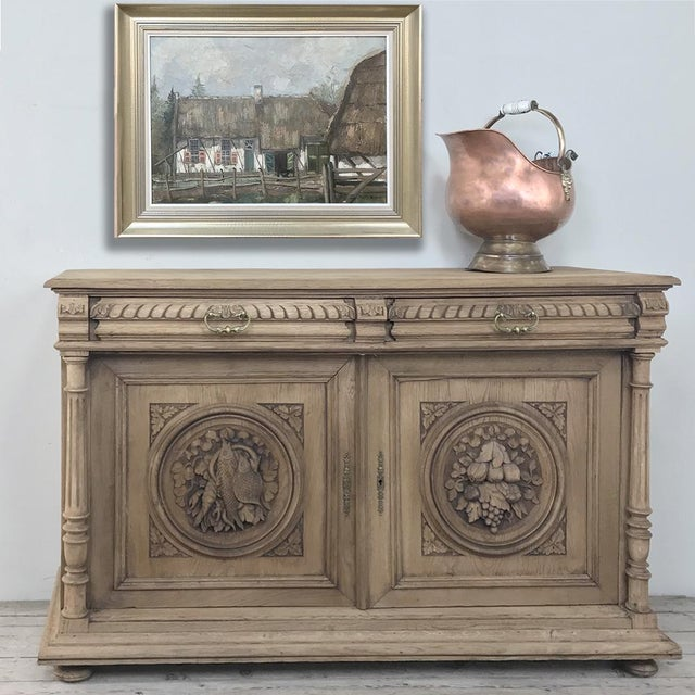19th Century French Renaissance Stripped Oak Buffet For Sale - Image 12 of 13