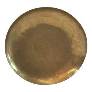 Vintage Asian Brass Etched Design Bowl For Sale