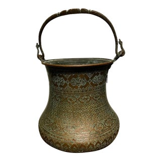 Large Safavid Etched Copper Bucket, Persia, 17th Century For Sale