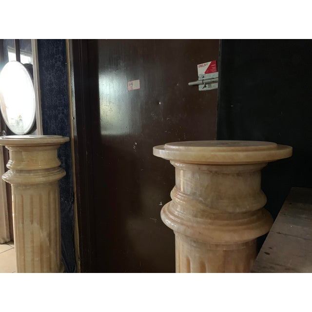 Stone 1920s Tuscany Pink Marble Pedestals - a Pair For Sale - Image 7 of 13