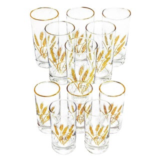 1960s Gilt Rimmed Libby Co Beverageware With Gold Wheat Bunch Graphic - Set of 11 For Sale
