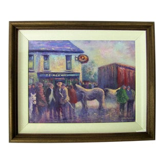 Irish Oil on Canvas of Ballagh Horse Fair by Seamus Coleman For Sale