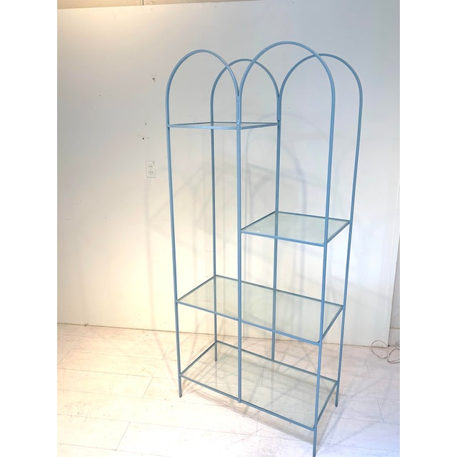 Metal Mid Century Modern Arched Powder Blue Metal and Glass Display Shelf Unit For Sale - Image 7 of 7