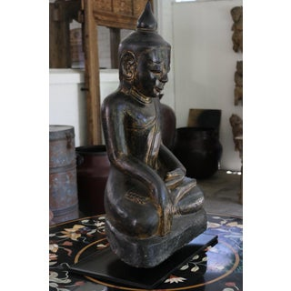 Seated Buddha Painted Sandstone Sculpture Preview