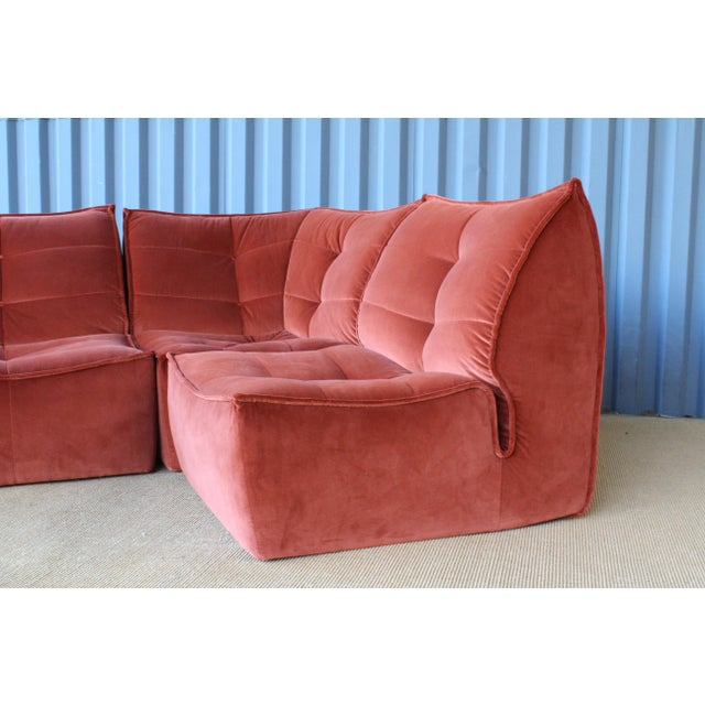 Orange Four-Piece Sectional Sofa, Italy, 1960s For Sale - Image 8 of 12