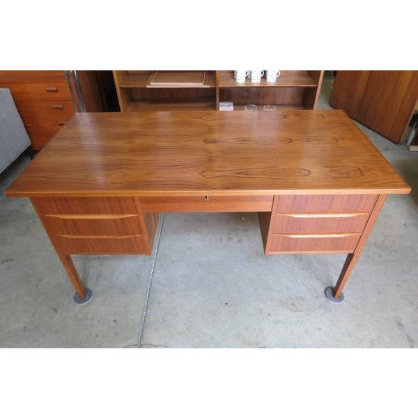 Danish Modern 1960s Danish Modern Teak Desk With Bookshelf Back For Sale - Image 3 of 6