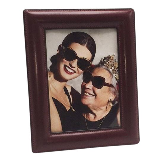 Red Leather Gucci Picture Frame, C. 1950 For Sale