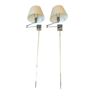 Pr Hansen Chrome Wall Mounted Lamps by Metalarte With Shades For Sale