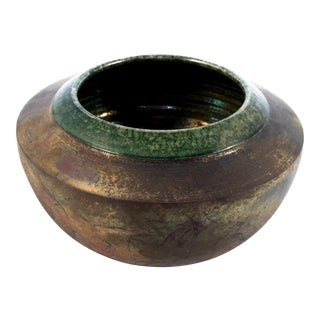 1970s Vintage Fire & Copper Raku Pottery Planter Vase For Sale