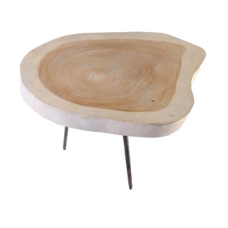 Organic Modern Moon Living Edge Accent Table For Sale