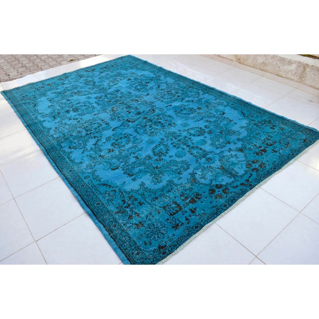 """Cyan Blue Overdyed Turkish Hand Knotted Rug - 6'5"""" X 10' For Sale - Image 4 of 10"""