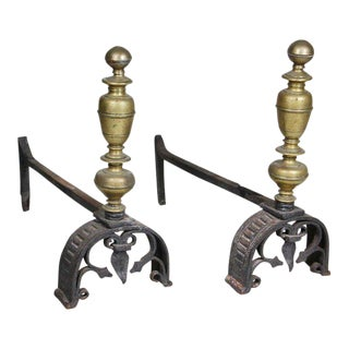 Pair of Italian Baroque Wrought Iron and Bronze Andirons For Sale