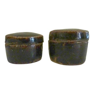 Early 20th Century Antique Chinese Pottery Herb Boxes - A Pair For Sale