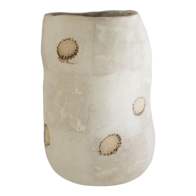 White Sand Ceramic Wobbly Vase With Soren Stamps For Sale