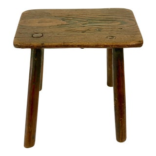 Primitive Brown Dairy Stool For Sale